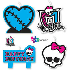 MONSTER HIGH BIRTHDAY PARTY SUPPLIES CANDLE MINI MOULDED PACK OF 4