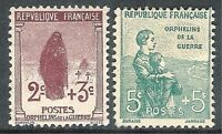 France 1917 War Orphans brown 2c + 3c green 5c + 5c  mint SG370/371