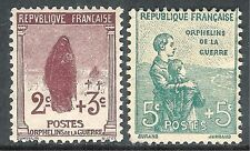 France 1917 War Orphans brown 2c + 3c green 5c + 5c  mint SG370/371