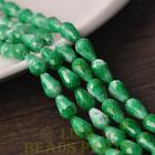 New 15pcs 12X8mm Teardrop Faceted Glass Loose Spacer Colorful Beads Green