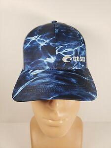 Costa Del Mar Blue Mossy Oak Element Camo Trucker Adjustable Hat NWT Style HA91B