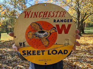 OLD VINTAGE 1949 WINCHESTER RANGER W SKEET LOAD PORCELAIN ADVERTISIING SIGN