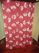 RED & WHITE FLORAL TOILE FABRIC SHOWER CURTAIN 68 X 68