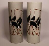 VINTAGE 1960S NORA FENTON VASE - CRANE BIRD DESIGN - HAND DECORATED IN HONG KONG