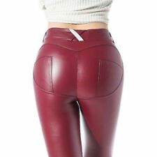 Womens Leather Stretch Pants Ladies PU Leather Leggings PVC Trousers F