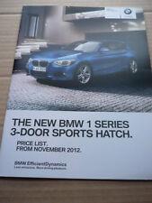 BMW 1 serie 3 porte Sport Hatch LISTINO PREZZI AUTO opuscolo novembre 2012
