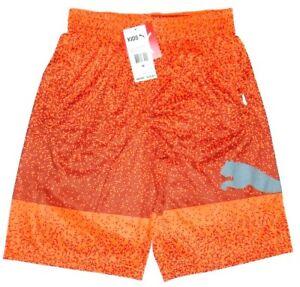 Puma Boy's Athletic Shorts Pockets Youth Orange Fanta Black Dots Size M(10-12)