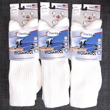 3 Pairs of Thorlos WWX Warm Weather White Moderate-Cushion Crew Socks XL Mens