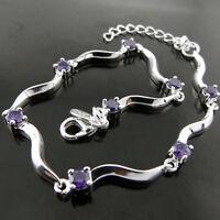 Bracelet Bangle Real 925 Sterling Silver S/F Solid Antique Amethyst Cuff Design