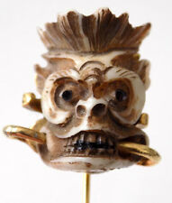 Grotesque Monkey Skull Srickpin Carved Lucite