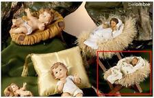 GESÙ ENFANT GRANDE Cm.16x9,5 h.11 con MANGEOIRE bois et PAILLE CRÈCHE NOËL