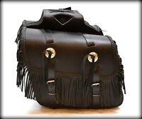Sacoches cavaliéres en Cuir Avec Franges pour moto custom harley shadow virago .