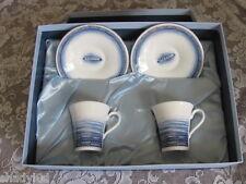Wedgwood Espresso Coffee Set Adonia Oceana Blue White Boxed Bone China Expreso