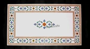 30 x 60 Inches Marble Dining Table Top White Reception Table with Marquetry Art