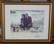 Vintage Photo Signed Lyndon B Johnson LBJ w/ Lady Bird Johnson Inscribed Framed