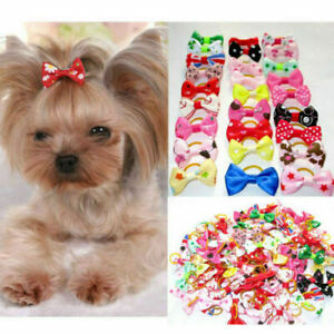 20x Cute Assorted Pet Hair Bows Rubber Band Dogs Cat Puppy Headdress Accessories