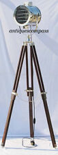 DESIGNER NAUTICAL CHROME FINISH SPOT SEARCHLIGHT BROWN WOOD TRIPOD FLOOR LAMP