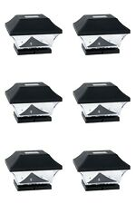 6 PC LED Outdoor Garden Solar Powered Deck Cap Square Fence Post Lights Black