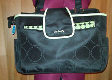Carter's diaper bag with changing pad black lime green stroller loops new