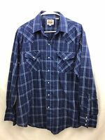 Ely Cattleman Western Shirt Mens Large Blue Plaid Pearl Snap Long Sleeve Stretch