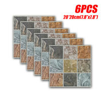 6pcs Marble Tile Brick Wall Sticker DIY Self-adhesive Waterproof Home Deco #