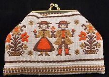 Embroidered Folk Art Change Purse from Sweden - Brown, Orange, Padded