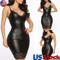 Women Dress Leather Lace Mini Dress Sleeveless Bodycon Cocktail Evening Party US