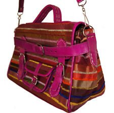 Moroccan Leather Handmade Shoulder Bag Purse Handbag Silk Fabric Fancy Magenta