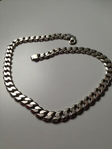 "Solid sterling silver 925 chain curb jewellery mens 21"" heavy."