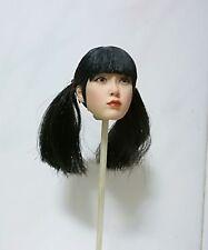 1/6 Scale straight bang Girl Head Sculpt Black Hair Head Model F 12'' Body