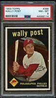 1959 Topps BB Card #398 Wally Post Philadelphia Phillies PSA NM-MT 8 !!