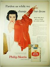 Vintage 1955 PHILIP MORRIS CIGARETTES Full Page Magazine Print Ad: NEW PACKAGE