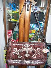 "Blazin Roxx  Flap Handbag ""Croc Print/Cross Embroidery"""