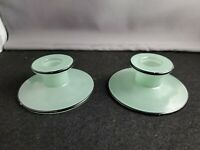 Vintage Green Glass  Candle Holders