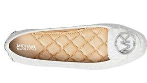 NIB Size 10 Michael Kors Lillie Logo Moccasin Bright White MK Logo