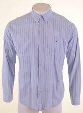 TOMMY HILFIGER Mens Shirt XL Blue Striped Cotton  DO10