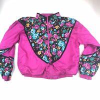 80s Color Block Kuma Sport Windbreaker Floral Women's Size XL #1179