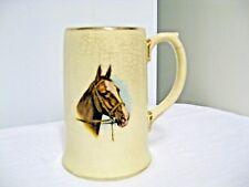 Vintage Sadler England marked Beer Stein Mug-Horse Motif-Gold Trim