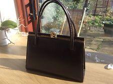 DEBROYAL 1950 1960 Vintage Handbag Brown Leather Suede gold Elbief clasp & frame