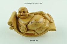 Souriant buddha sur fauteuil à bascule, fait à la main décoratifs en bois Figure, marron, H050