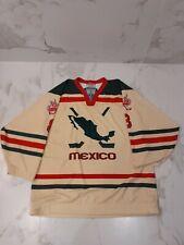 IIHF TACKLA MEXICO GAME WORN USED CREAM JERSEY #8 NOBR