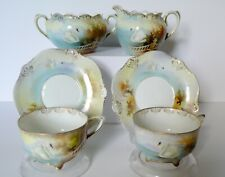 Antique German RS Prussia SWANS Cups & Saucers Creamer Sugar Bowl