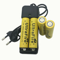4x 18650 9800mAh Li-ion Battery 3.7V Flat Top Rechargeable &Fast Charger EU Plug