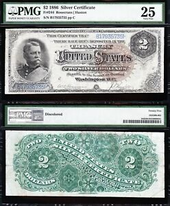 Awesome RARE Bold VF 1886 $2 Large Brown Seal HANCOCK Silver Cert.! PMG 25!