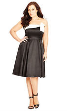 City Chic Black white FORMAL dinner Dance PARTY tulle lined DRESS  XL 22