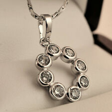 Sparkly White Gold Plt Clear CZ Open Circle Round Pendant Necklace Chain UK  N12