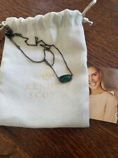 Kendra Scott Elisa Pendant Necklace Gunmetal BlackBlue /Green Stone