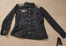 INC Petite 0P Blue jean Western look Blouse. Indigo Color MSRP: $79.50 Now: $24