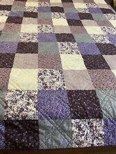 "Vintage Purple Patchwork Print Cheater Quilt 88"" x 85"" Queen #198"