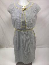 London Times 2 pc Gray Yellow Stripe Sleeveless Dress Bolero Jacket Size 4